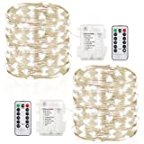 #8: GDEALER 2 Pack 100 Led String Lights Fairy Lights Battery Operated Waterproof Fairy String Lights with Remote Control Timer 8 Modes 33ft Copper Wire Christmas Lights Christmas Decor Cool White