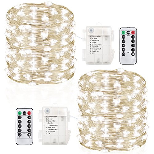 GDEALER 2 Pack 100 Led String Lights Fairy Lights Battery Operated Waterproof Fairy String Lights with Remote Control Timer 8 Modes 33ft Copper Wire Christmas Lights Christmas Decor Cool White (With Timer Lights String)