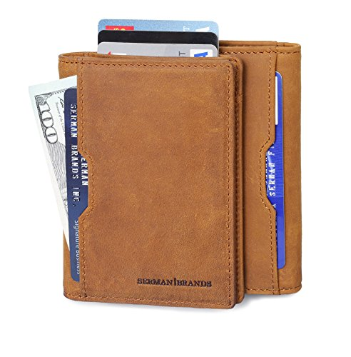 Bi Leather Distressed Fold (Wallets for Men Slim Mens leather RFID Blocking Minimalist Card Front Pocket Bifold Travel Thin (California Desert 5.S))