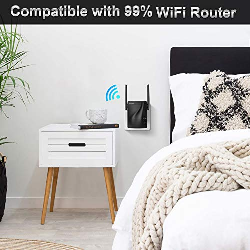 WiFi Range Extender - 1200Mbps WiFi Repeater Wireless Signal Booster, 2.4 & 5GHz Dual Band WiFi Extender with Ethernet Port, Simple Setup