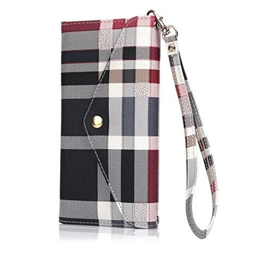 iPhone 6/6s Case Luxury Designer, 5-Slot Pockets, With Card Holders, Flap Bag Shape, Hand Strap String, Blue Plaid Prints, For Women Girls, Premium Quality, High Grade, Classic Design, Classy Style