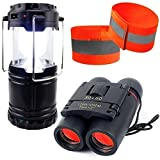 Night Vision Binoculars for Kids High Resolution Real Optics for Bird Watching  Girls and Boys Outdoor Toys with Reflective Armbands and Compact Mini Solar USB Lantern for Hiking Hunting Camping