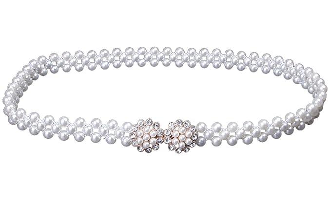 ff5c4fcb07c409 Cheerlife Damen Schmaler Gürtel mit Perlen Strasssteine Taillengürtel  Hüftgurt Kleidgürtel Für Party Hochzeit Kleider Dekoration Weiß