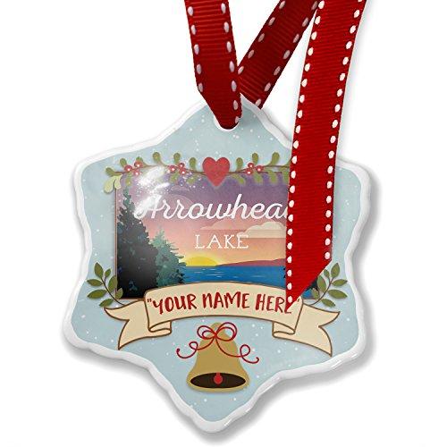 Arrowhead Finials - NEONBLOND Add Your Own Custom Name, Lake Retro Design Lake Arrowhead Christmas Ornament