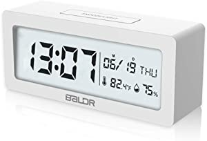 BALDR Compact Digital Alarm Clock with Ultra HD LCD Screen - Large Date & Time Display, Bedside Table Clock, Monitor Temperature & Humidity, Battery Operated Travel Alarm Clock
