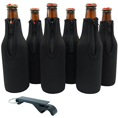 Beer Bottle Sleeves - Set of 6 - Extra Thick Neoprene with Stitched Fabric Edges with Bonus Bottle Opener (Black)