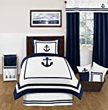 Anchors Away Nautical Navy and White Fabric
