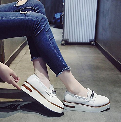 Sponge Thick Of Student Female Leather Korean Shoes 38 Tide Single Versatile Small The KHSKX Square The Shoes Rising New Women Shoes Autumn Version Cake And wOBZnIEx