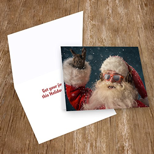Rock 'n Roll Santa Holiday Card Pack - Set of 25 cards - 1 design, versed inside with envelopes Photo #4