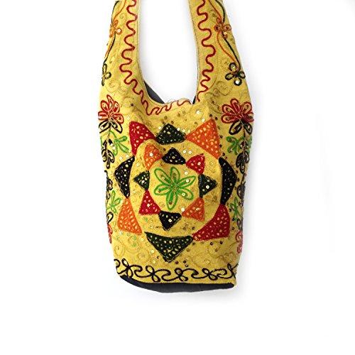 Mehrfarben für Hochschule Fäden bestickte Zari Pailletten Jaipuri Baumwolle Jhola Tasche