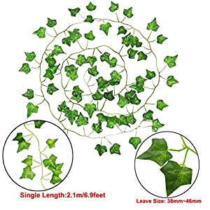 GoFriend 12 Strands (83 Feet) Artificial Ivy Garland Foliage Green Leaves Fake Hanging Vine Plant for Wedding Party Garden Wall Decoration 3