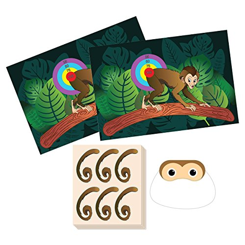 Pin The Tail on The Monkey Birthday Game - Jungle Theme Party Supplies, Zoo Party Favors, Fun for All Ages, 2 Game Posters, 1 Blindfold Mask, 5 Sheets, 30 Tail Stickers -
