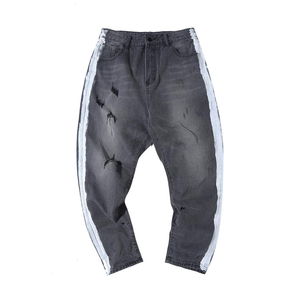 EVEORSSRA Jeanshosen Herbst Retro Print Crash Break Jeans Männer lose beiläufige hübsche Lange Hose