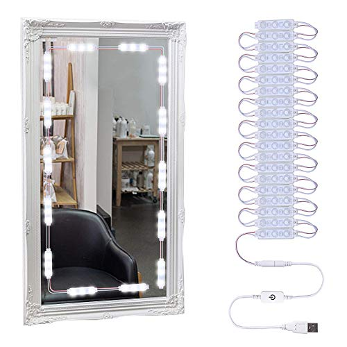 LARAH LED Vanity Lights for Mirror, Makeup Light, Bathroom Light, Cabinet Lights, Ultra Bright White Dimmable Touch Control USB Powered 10ft 60LEDs (Mirror Not Included)