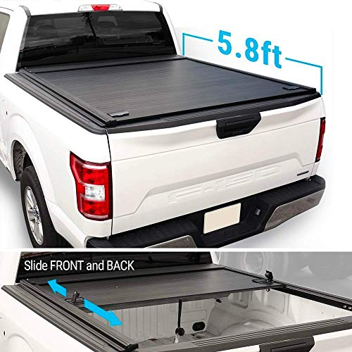 Syneticusa Aluminum Retractable Low Profile Waterproof Tonneau Cover for 2014-2018