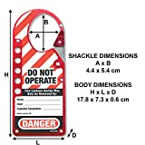 Master Lock Snap-On Lockout Hasp with Tag, Red