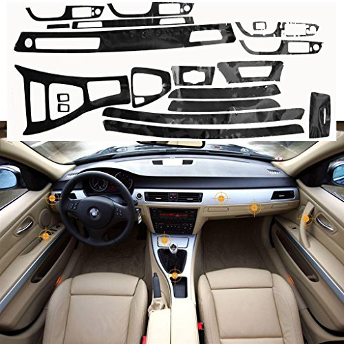 Xotic Tech 5D Glossy Reflective Carbon Fiber Wrap Trim Decal Vinyl Interior Sticker for BMW 3 Series E90 -