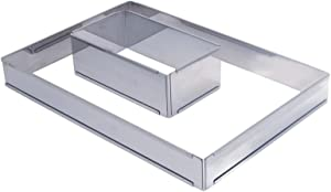"""ADJUSTABLE PASTRY FRAME in Stainless Steel, Rectangular 8.5"""" x 4.5"""" x 3 to 15.75"""" x 8.25"""""""