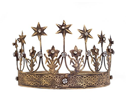 The Queen of Crowns Star Crown Gold Tiara, Crown Photo Prop, Vintage Crown, Rhinestone Crowns by The Queen of Crowns