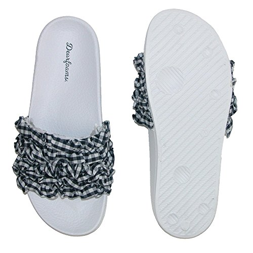 Dearfoams Women's Ruffle Molded Footbed Slide Slipper Peacoat c2m4hoh7S