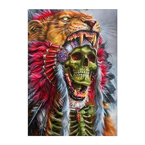 (Decmart 5D Diamond Painting Full Drill Skull and Bones Square Rhinestone Cross Stitch Diamond Art Painting Number Kits 12 x 16 inches)