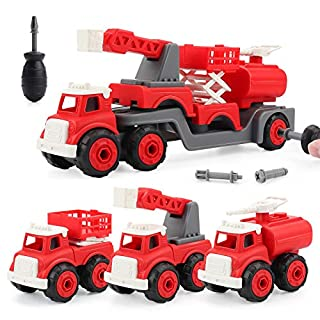 STEM Building Toy Take Apart Toys with Drill Converts to Fire Truck 3 in one Take Apart Toy for Boys Gift Toys for Boys 3,4,5,6,7 Year Olds, Ladder Fire Truck,Spray Hose fire Truck,Fire Lift Truck