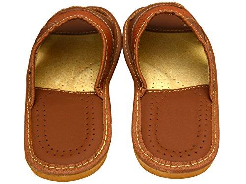 BeComfy Chaussures en cuir pour homme chaussons mules marron noir boîte à cadeau en option Modèle XC64 (43+Box, Marron)
