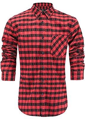 Emiqude Men's Flannel Cotton Slim Fit Long Sleeve Button Up Plaid Dress Shirt