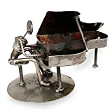 Cheap NOVICA Metallic Decorative Recycled Metal Iron Sculpture, 5.75″ Tall, Rustic Piano Man'