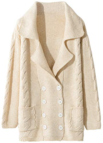 Liny Xin Women's Cashmere Winter Warm Long Sleeve Button Down Cardigan Sweater with Pockets (M, Beige)
