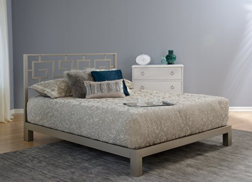 Greek Key Metal Headboard and Aura Champagne Metal Platform Bed (Queen) (Furniture Design Aura)