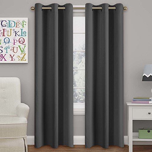 Ultra Blackout Solid Thermal Insulated Grommet Curtains/Drapes for Bedroom/Living Room (2 Panels, 42 Inch Wide by 84 Inch Long, Charcoal Gray)