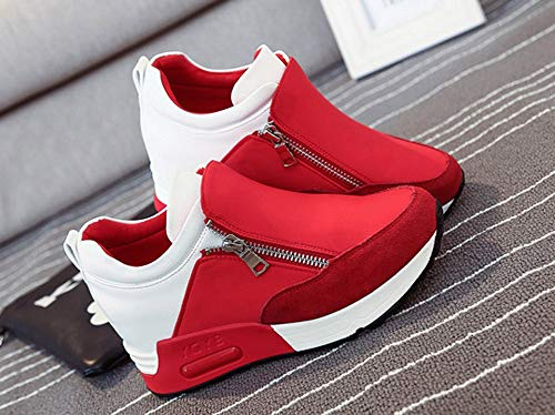 Women's Fashion Solid Color Round Head Breathable Sports Shoes Sports Running Climbing Platform Shoes Red by Lloopyting (Image #3)