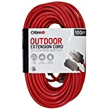 Otimo 100 ft 12/3 Outdoor Extra Heavy Duty Extension Cord - 3 Prong Extension Cord, Red