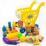 Qiyun carro de supermercado–Carro de supermercado de simulación de mini niños traje frutas verduras botellas de especias aperitivos casa de juegos juguetes regalo de Navidad, Colour:yellow