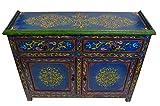 Moroccan Dresser Double Door Handmade Console Storage Cabinet Exquisite Decorative in Blue