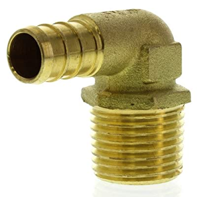 Everflow PXML3434-NL 3/4 Inch X 3/4 Inch Pex Elbows PEX X MIP, Lead Free DZR Brass Construction, Barb Connection, Compatible w/ PEX Pipe, Low-Cost Plumbing Connection, Durability, Easy to Install