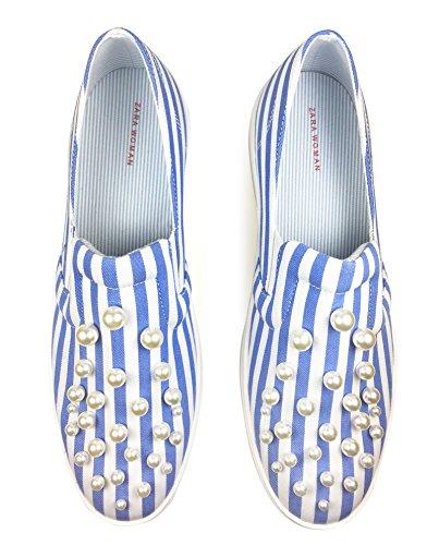 Zara Donna Scarpa sportiva righe dettaglio perle 1755/201 (35 EU | 5 US | 2 UK)