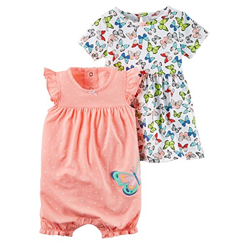 Carters Baby Clothing Outfit Girls 2-Piece Dress & Romper Set Butterfly Dot, Orange, NB