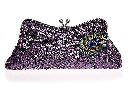 femmes Les embrayage main mariage sac la d'embrayage de fête Peacock à rétro pour sac Violet à Sequin Kaever main sac 5dwXqf0dx