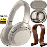 Sony WH1000XM3 Premium Noise Cancelling Wireless Bluetooth Headphones with Built in Microphone WH-1000XM3/S Silver + Deco Gear Wood Headphone Display Stand Holder + Protective Travel Carry Case