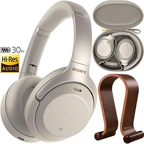 (Sony WH1000XM3 Premium Noise Cancelling Wireless Bluetooth Headphones with Built in Microphone WH-1000XM3/S Silver + Deco Gear Wood Headphone Display Stand Holder + Protective Travel Carry Case)