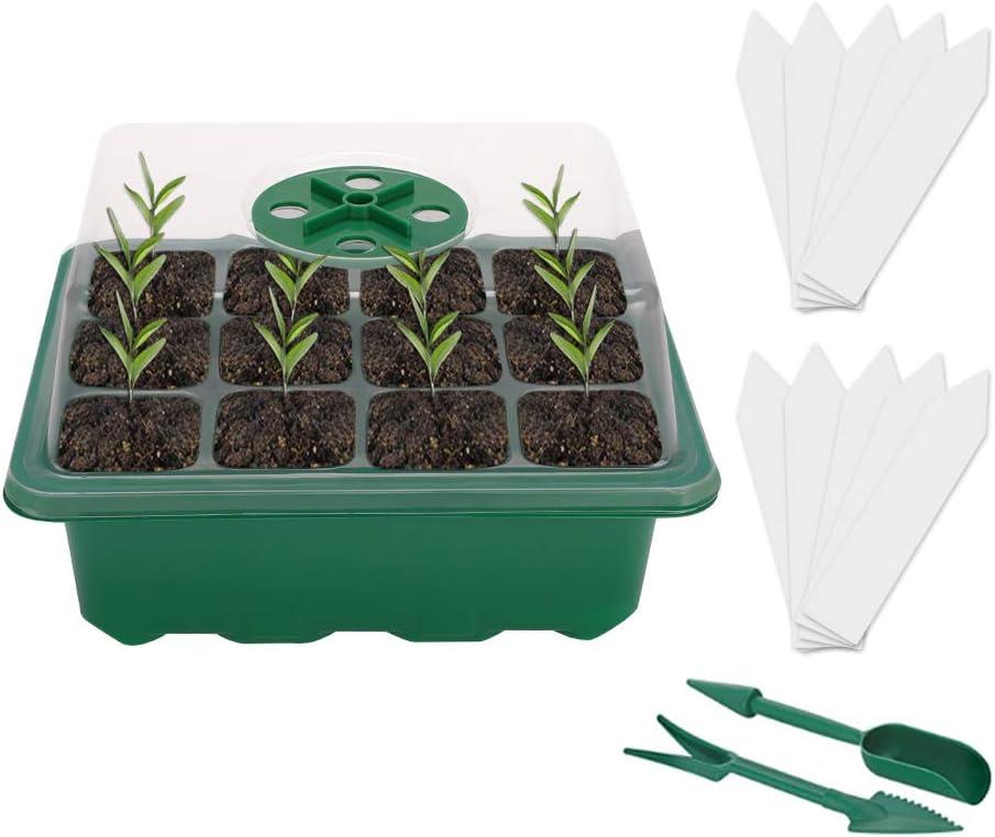 Mengxin 10 Piezas Bandeja de Semillero Espesar Bandejas para Plantas 12 Agujeros con Tapa, Herramientas de Plantación, Etiqueta de Planta para Interior y Exterior