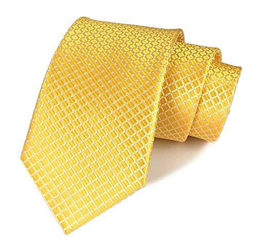 - Men's Boys Gold Silk Ties Cravat Neckties Jacquard Woven Solid Color Plain Patterns