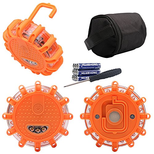 LED Road Flares 3 Pack, Lenmumu Safety Flashing Warning Light Roadside Emergency Kit Road Disc Beacon SOS for Car Truck Boat Bike (Batteries and Screw Driver Included in Storage Bag) (Plastic Driving Light Kit)