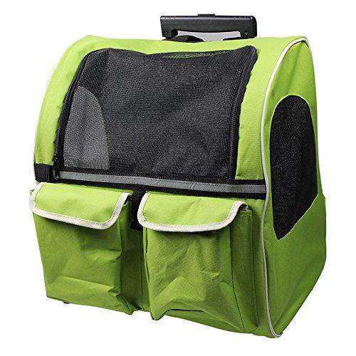 Pet Carrier Pet-Double Trolley Trolley Tasche Pet aus dem Rucksack Portable Hund Teddy, Grün Königin, weniger als 11 Kg