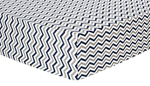 Trend Lab Chevron Deluxe Flannel Fitted Crib Sheet, Navy and