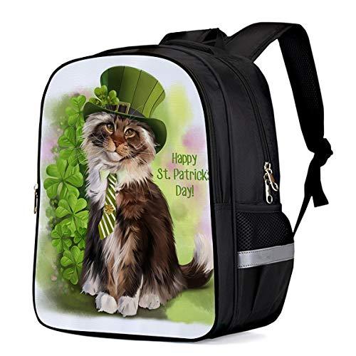 Irish St. Patrick's Day Students Backpack for School Bookbag Casual Shoulder Daypack Travel Back Pack Bags for Teen Boys Girls, Leprechaun Costume Funny Cat -
