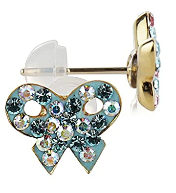 Choice of Colors 14k Yellow Gold and Copper Bow Shape Stud Earrings with Swarovski Elements Crystals