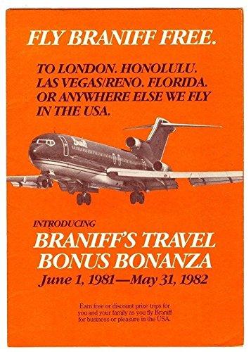 Amazon com : Fly Braniff Free Travel Bonus Bonanaza Brochure